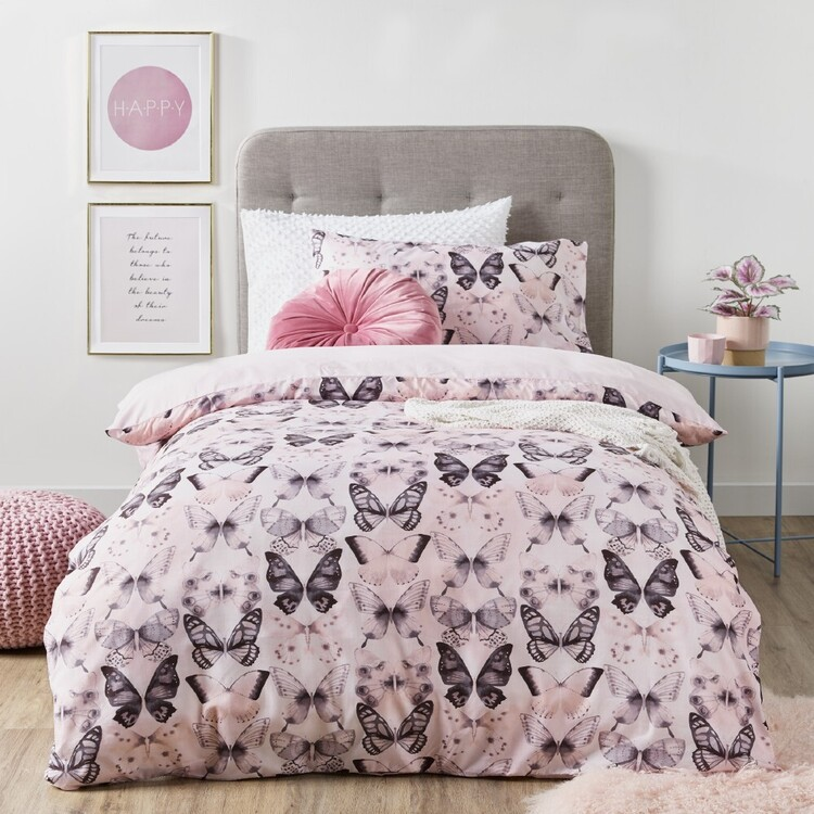 Ombre Blu Butterfly Quilt Cover Set