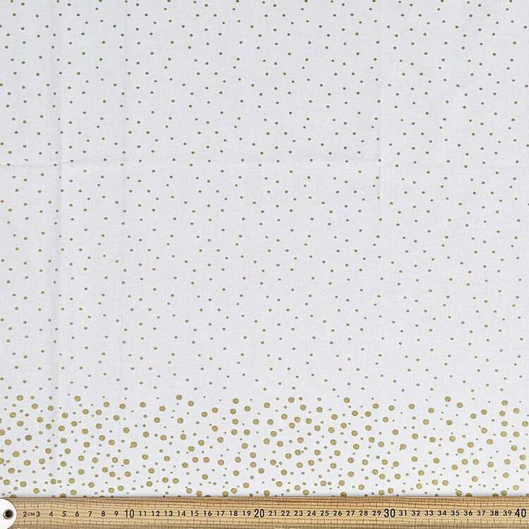Snowfall White & Gold Tablecloth Fabric