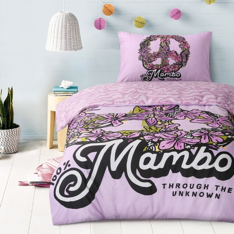 Mambo Peace Out Quilt Cover Set Lilac