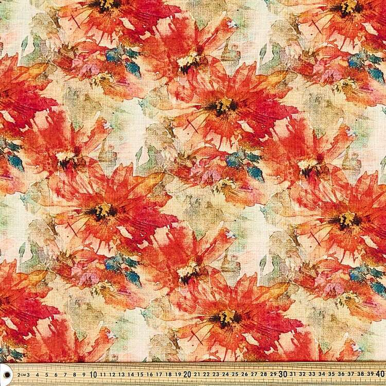 Pippa Easy Care Bloom Printed 140 cm Linen Look Polyester Fabric