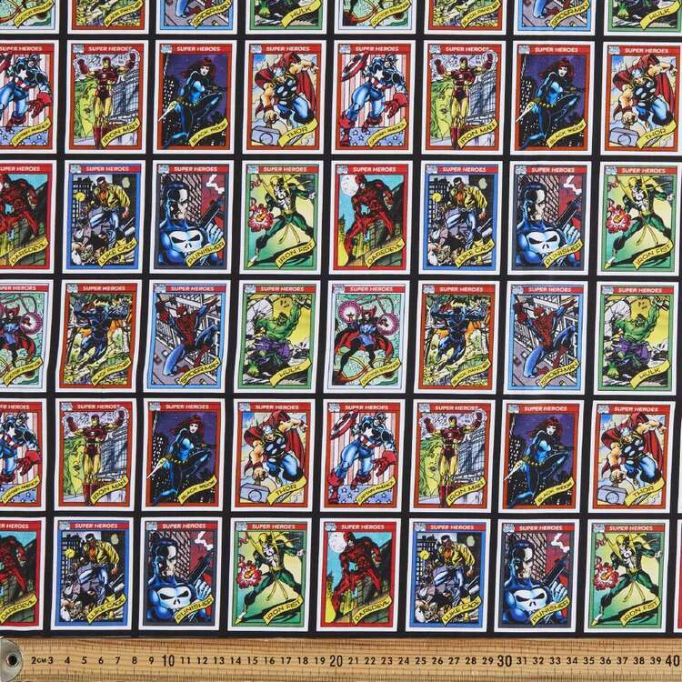 Marvel Avengers Trading Cards Cotton Fabric