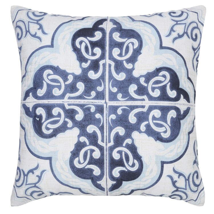 Ombre Home Weathered Coastal Large Tile Cushion Blue 45 x 45 cm