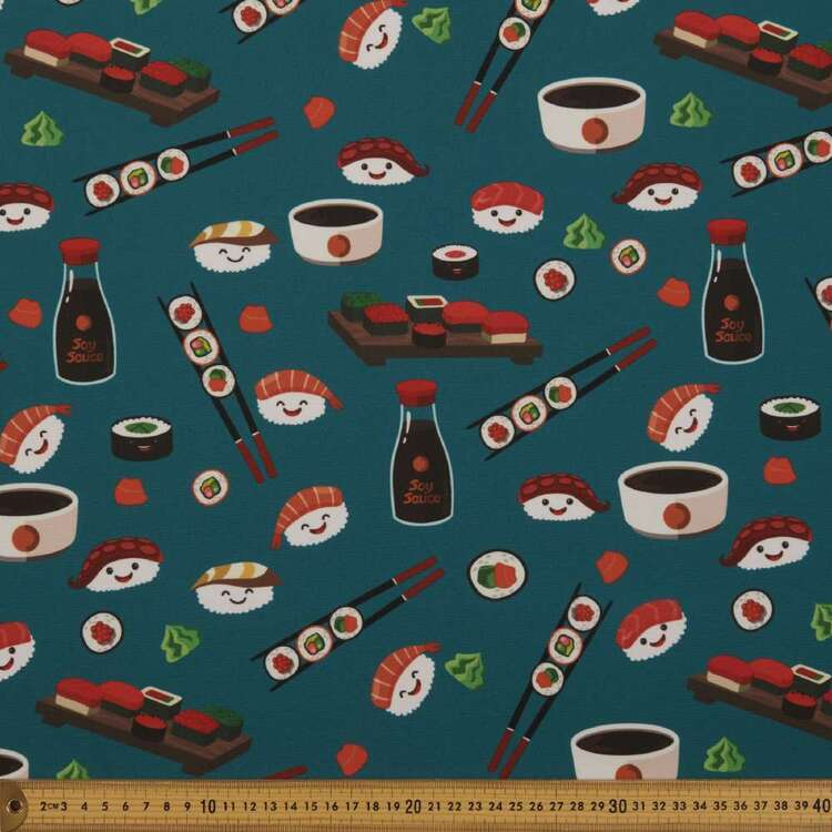 Party Play Sushi Face Print Polyester Fabric