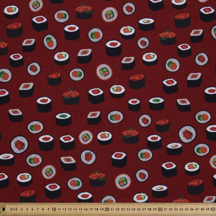 Party Play Sushi Print Polyester Fabric