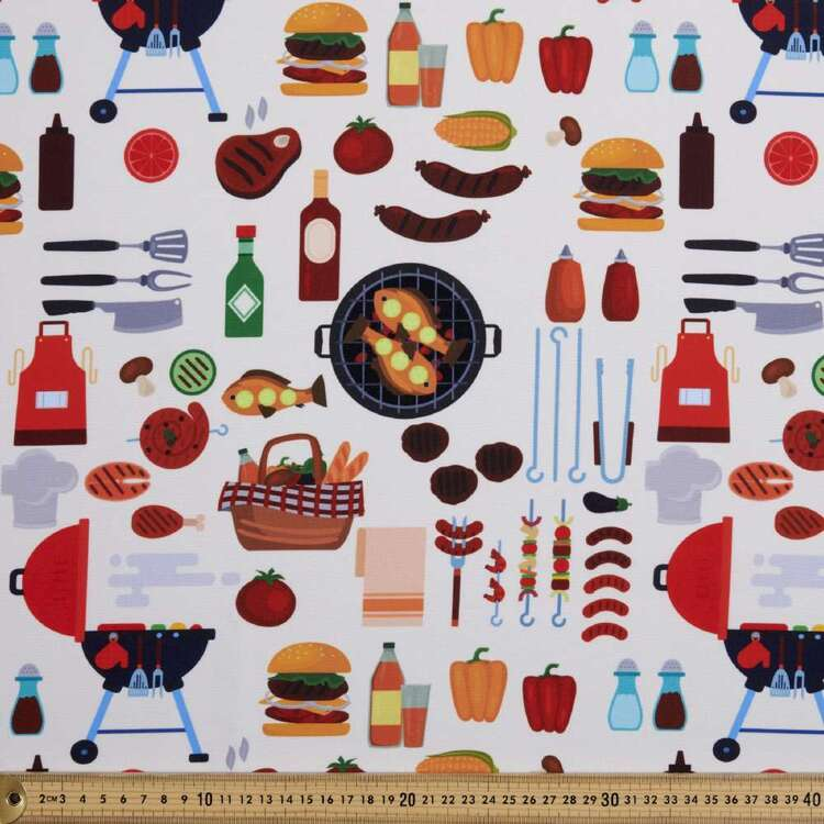 Party Play Barbecue Print Polyester Fabric