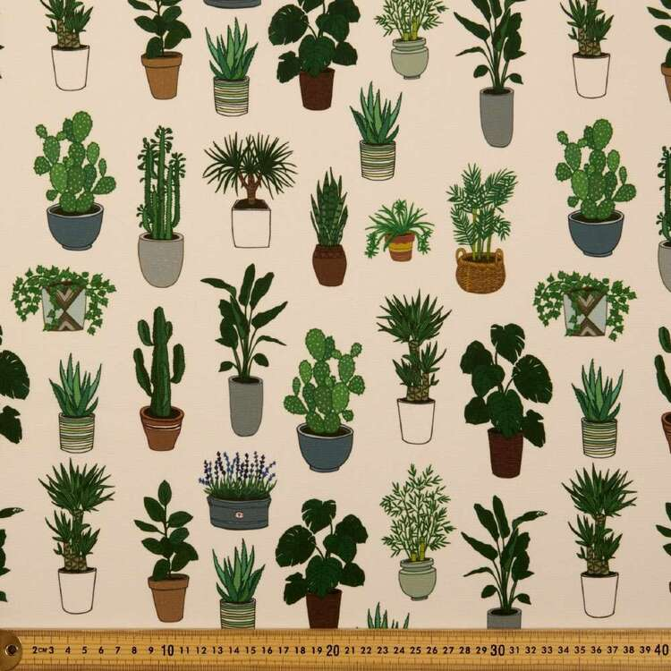 Party Play Plants Print Polyester Fabric