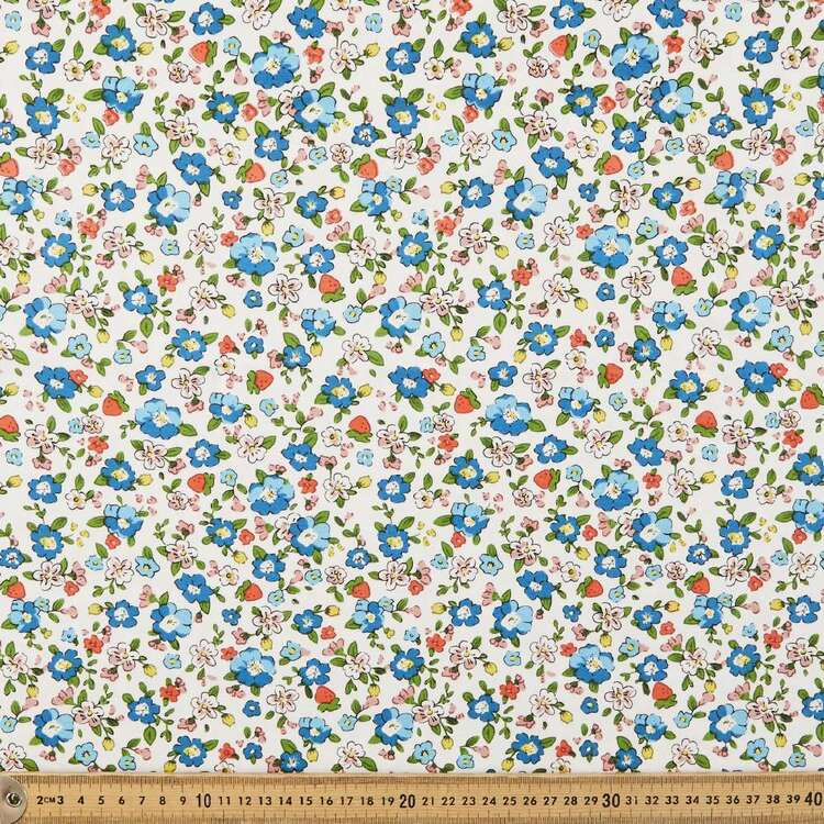 Strawberry Floral Printed 112 cm Combed Cotton Jersey Fabric