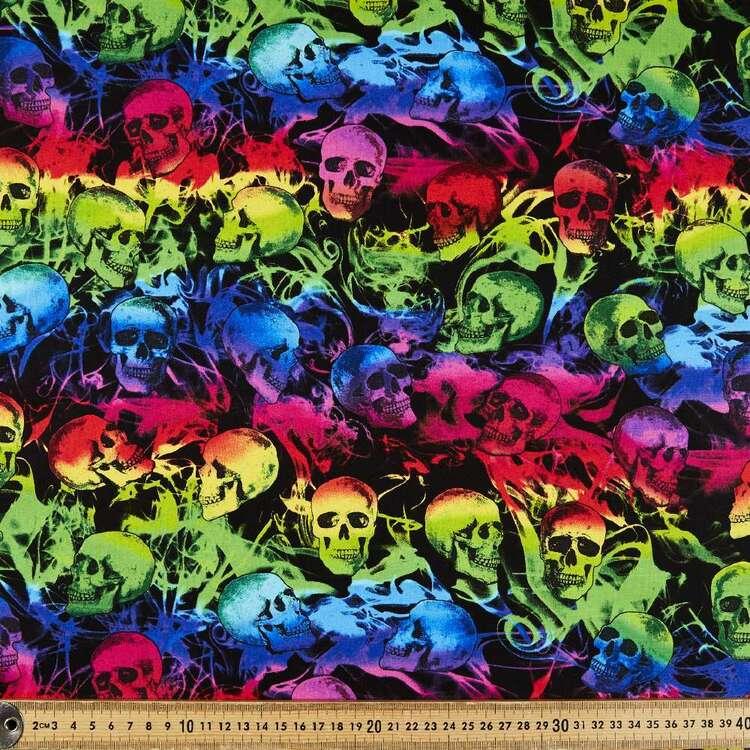 Neon Skulls Cotton Fabric