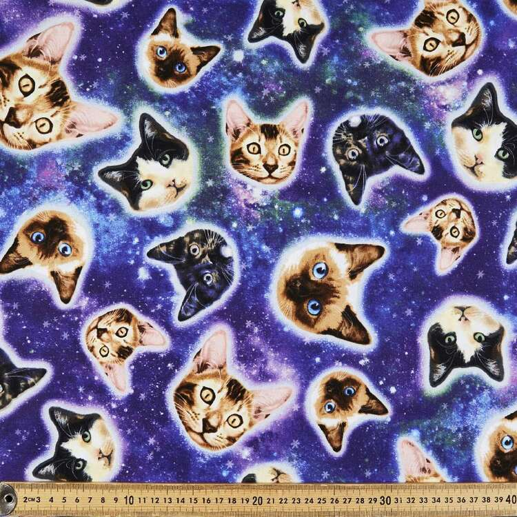Cats In Space Cotton Fabric