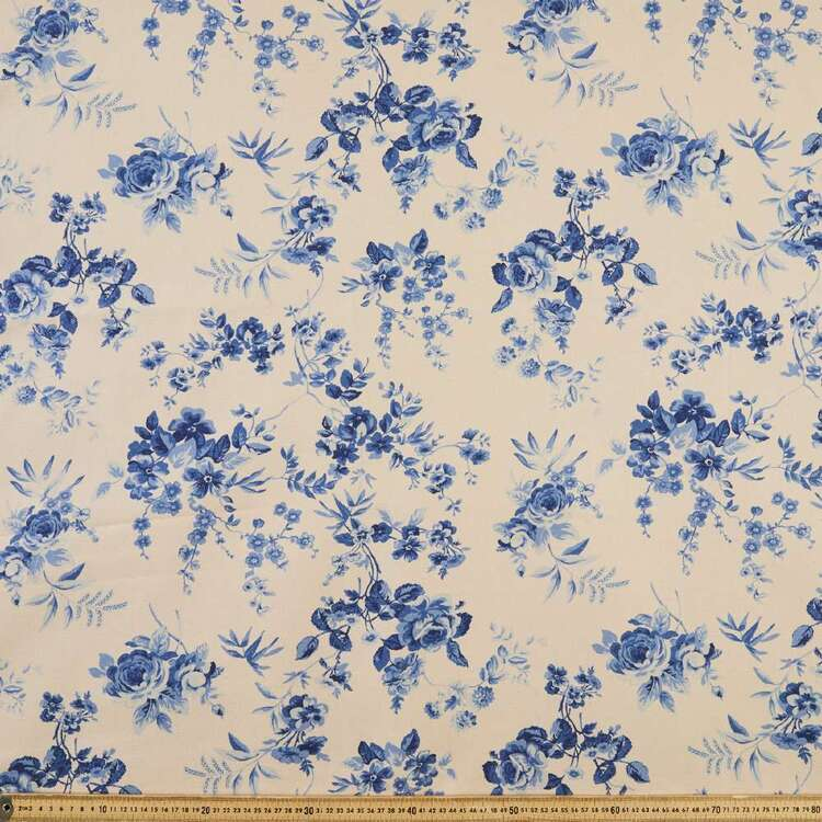 Classical Rose Toile Printed Linen Look Canvas