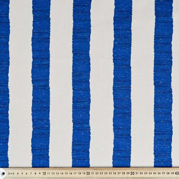 Coastal Painterly Stripe Printed Linen Look Canvas