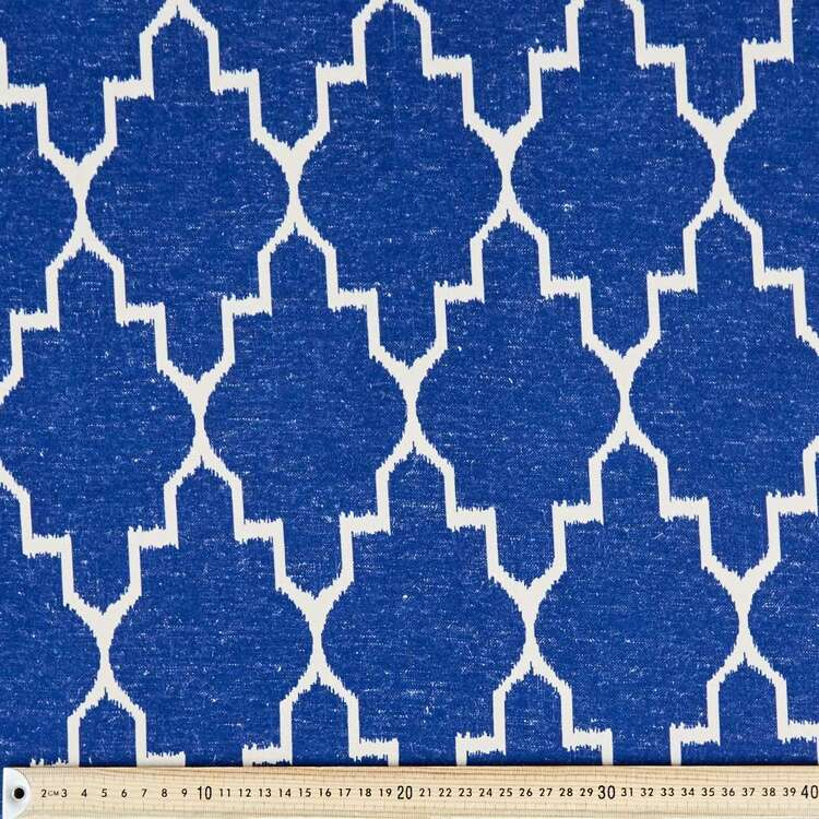 Coastal Ikat Diamond Printed Linen Look Canvas