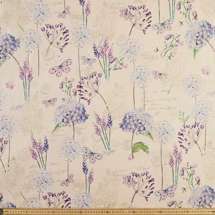 Classical Hydrangea Printed Linen Look Canvas