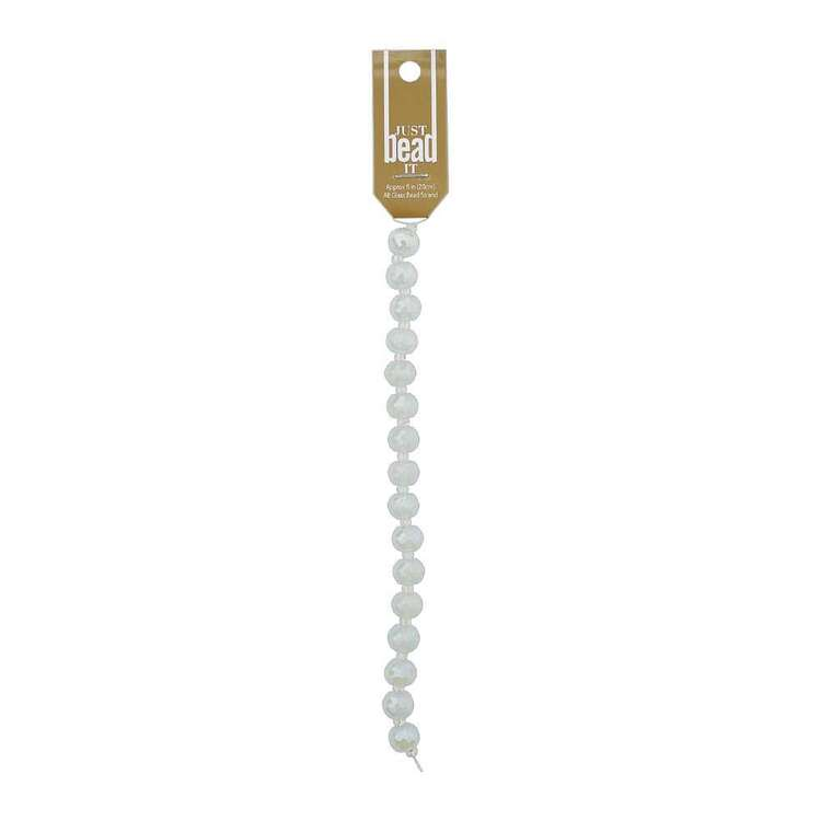 Just Bead It Glass 9 x 12 mm White Ab Bead Strand
