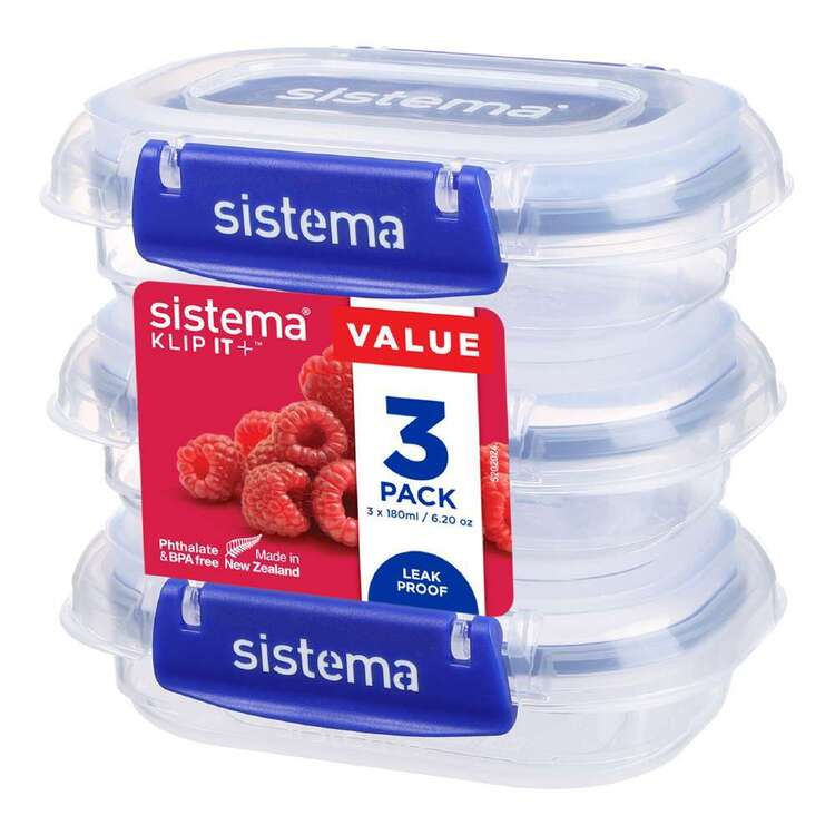 Sistema Klip It Plus 180 mL 3 Pack Rectangle Container Clear 180 mL
