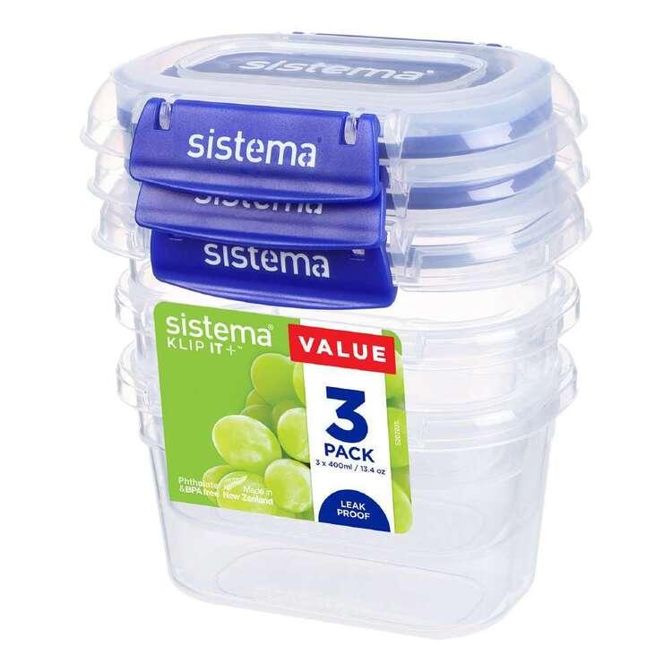 Sistema Klip It Plus 400 mL 3 Pack Rectangle Container