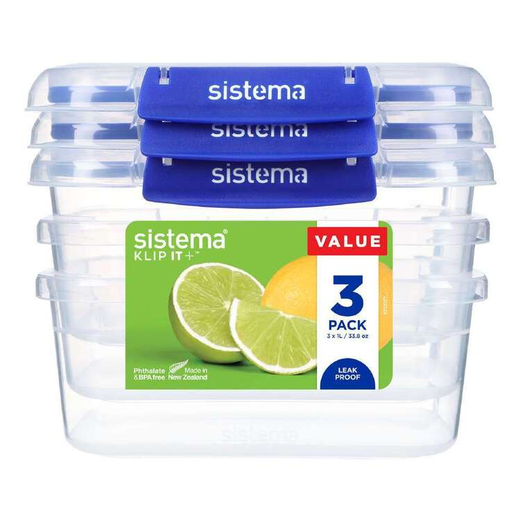 Sistema Klip It Plus 1 L 3 Pack Rectangle Container