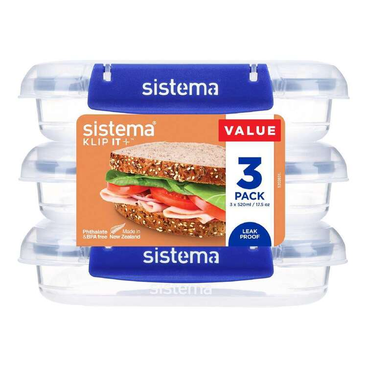 Sistema Klip It Plus 520 mL 3 Pack Square Container