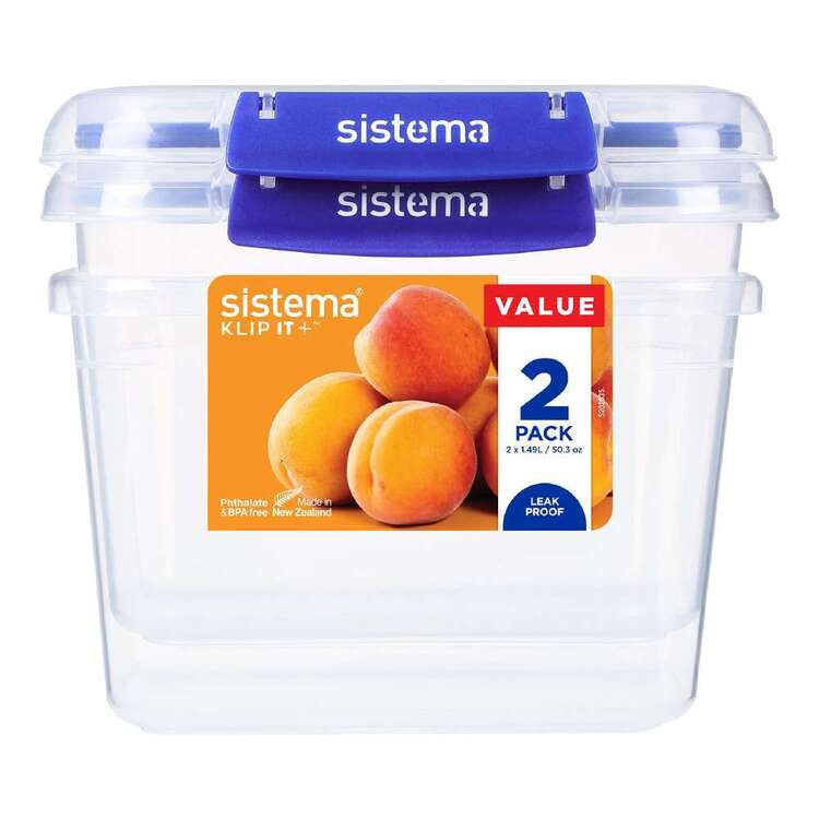 Sistema Klip It Plus 1.49L 2 Pack Rectangle Container Clear
