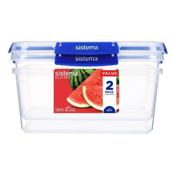 Sistema Klip It Plus 3.35 L 2 Pack Rectangle Container Clear