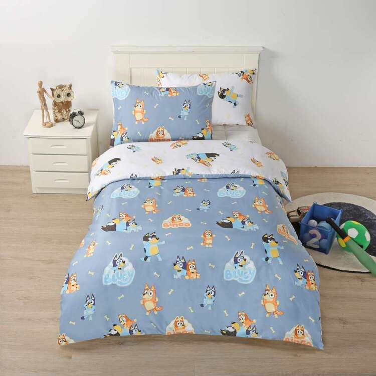 Bluey Blue Quilt Cover Set Multicoloured