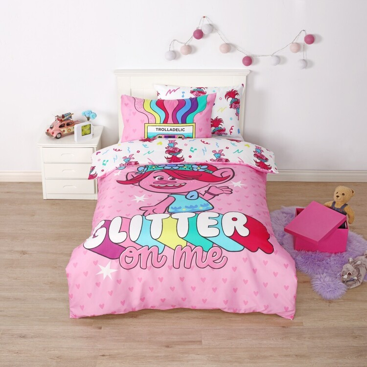 Trolls Glitter Quilt Cover Set