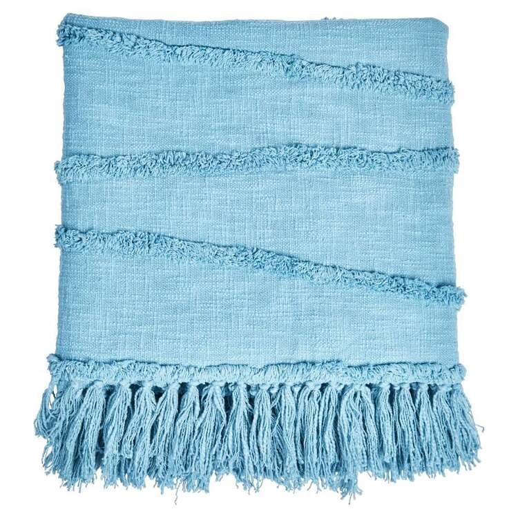 Ombre Home Weathered Coastal Throw With Tassels Blue 127 x 152 cm
