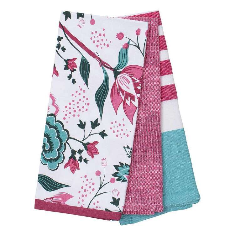 Kitchen By Ladelle Peacock 3 Pack Tea Towels