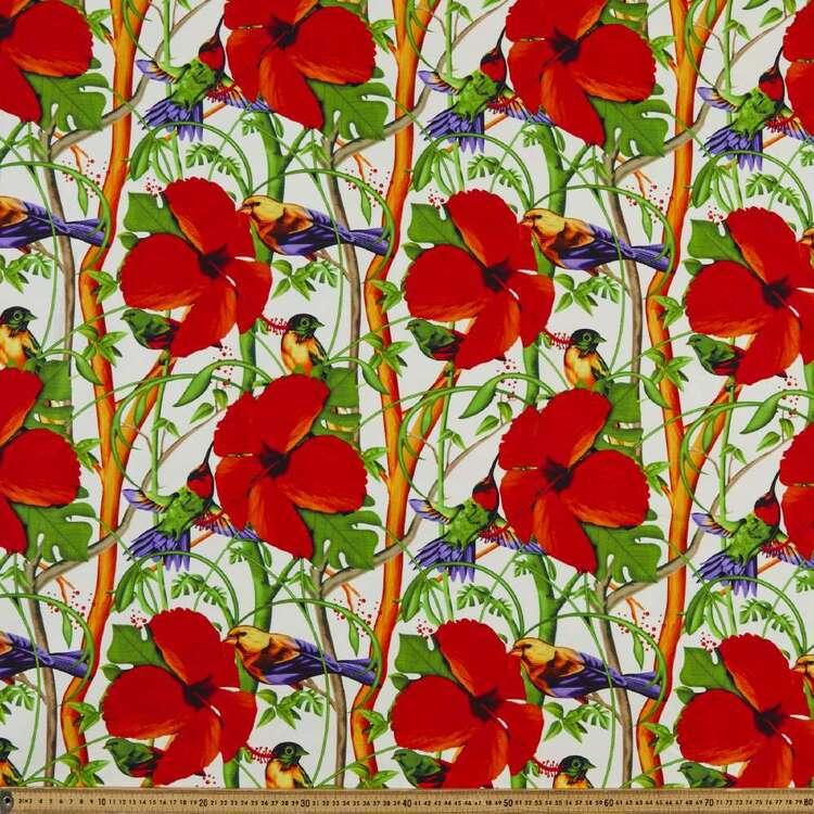 Bird Vine Printed 148 cm Bengaline Suiting Fabric