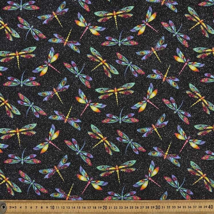 Sparkle Glitter Rainbow Dragonfly Printed 112 cm Poplin Fabric