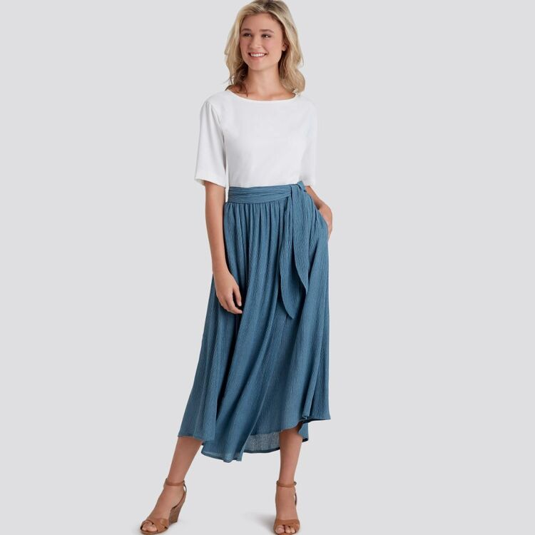 Simplicity Pattern 9109 Misses' Wrap Skirts In Various Lengths With Tie Options