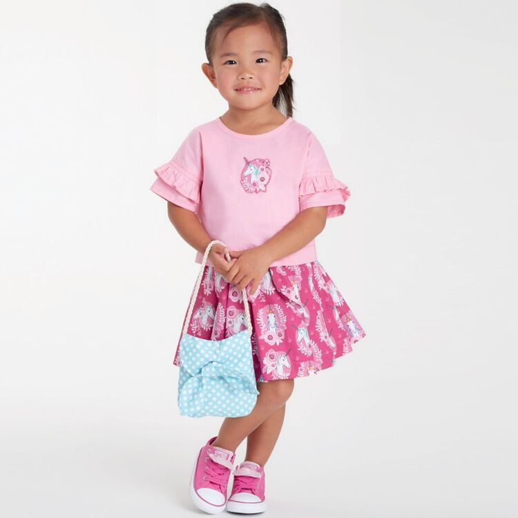 Simplicity Pattern 9118 Toddlers' Tops, Skirts & Purse