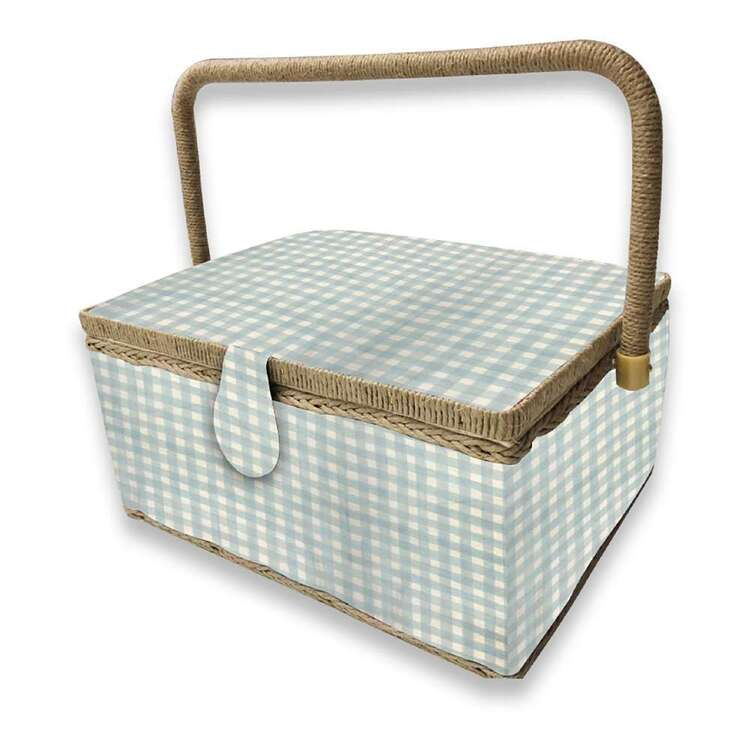 Birch Gingham Large Sewing Basket