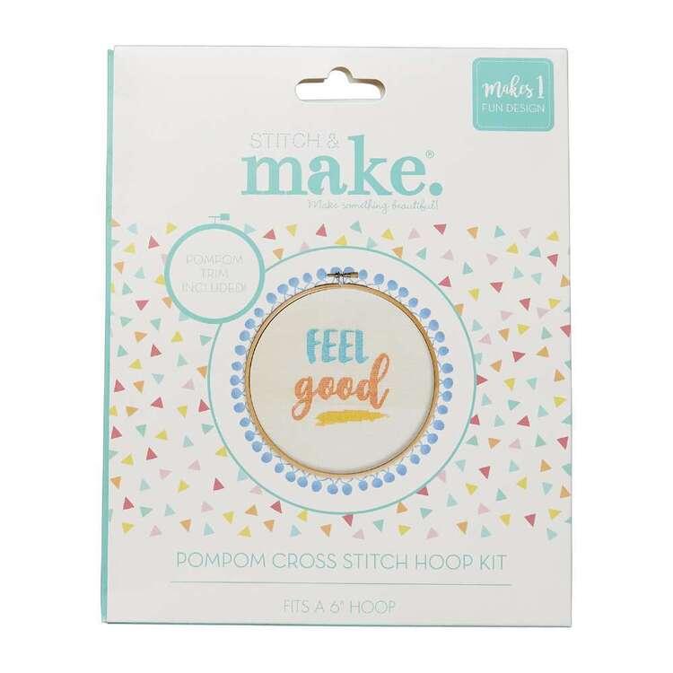 Stitch & Make Feel Good Cross Stitch Pom Hoop