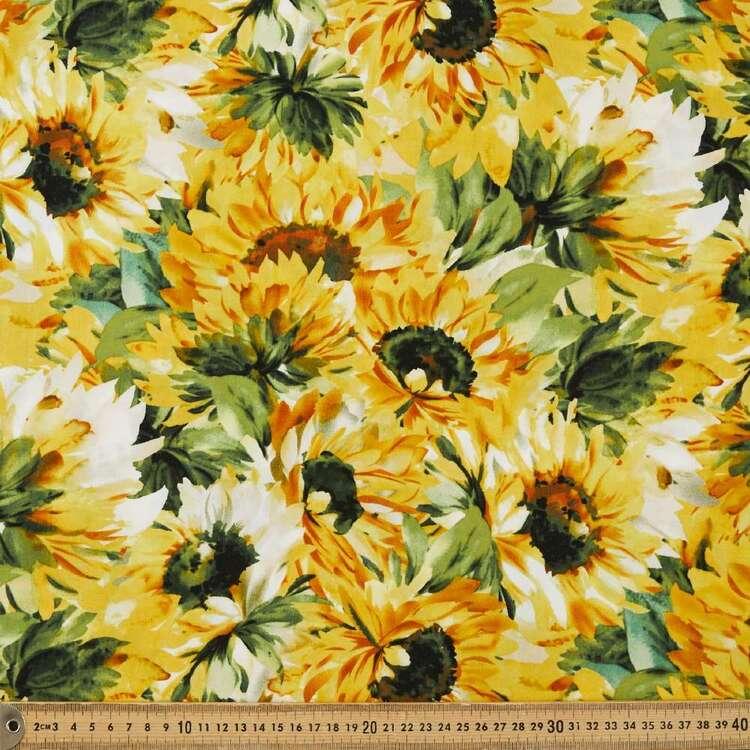 Sunflowers Printed 135 cm Rayon Fabric