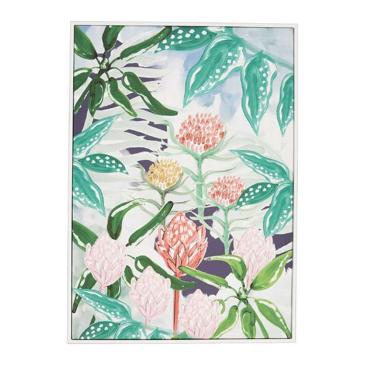 Oasis Living All Over Protea Framed Canvas Print Multicoloured 50 x 70 cm
