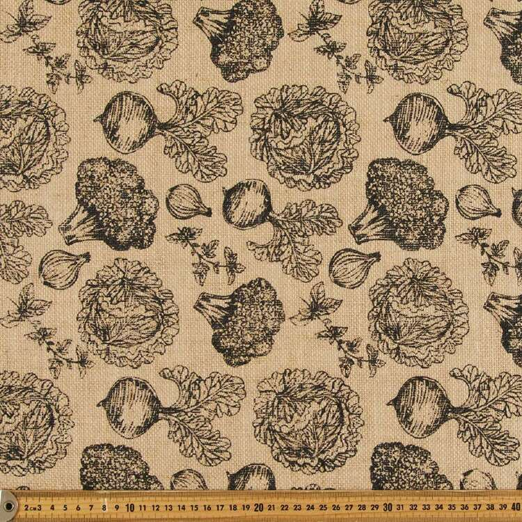 Produce Printed Hessian Fabric Black & Natural 120 cm