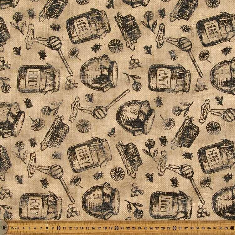 Honey Bee Printed Hessian Fabric