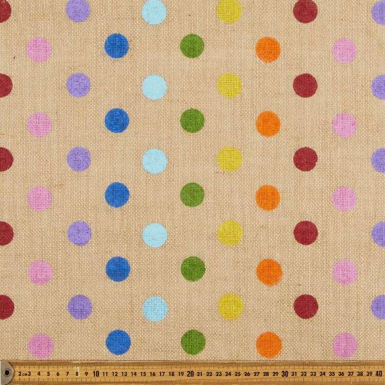 Rainbow Spot Printed Hessian Fabric