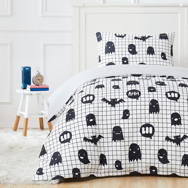 Kids House Monster Boo Quilted Quilt Cover Set
