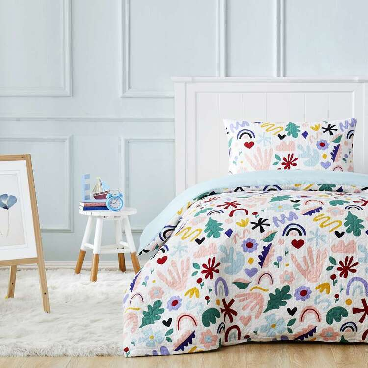 Kids House Messy Rainbow Quilted Quilt Cover Set