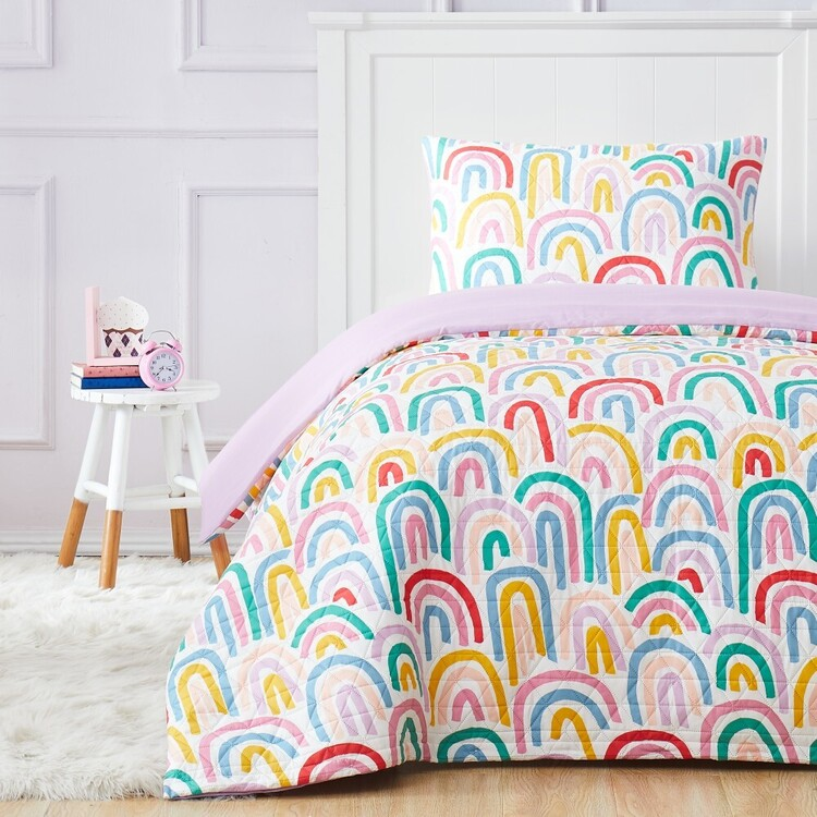Kids House Rainbow Repeat Quilted Quilt Cover Set