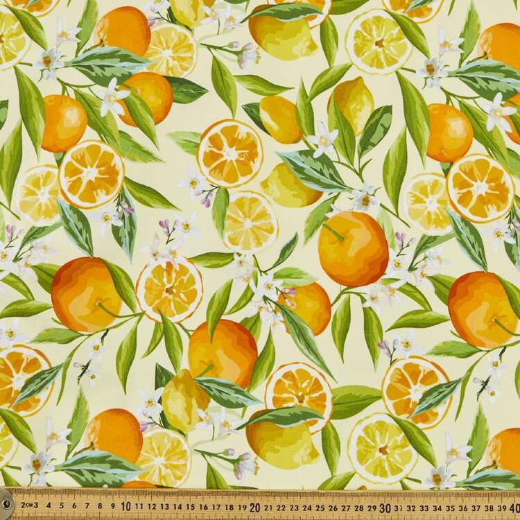 Lemon Citrus Digital Printed 112 cm Cotton Poplin Fabric