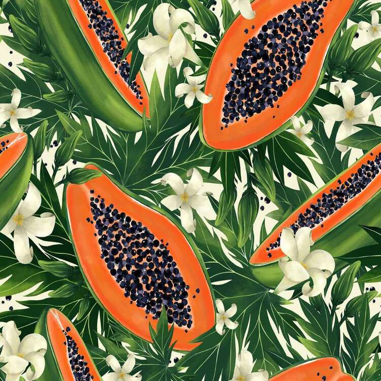 Tropical Papaya Digital Printed 112 cm Montreaux Drill Fabric