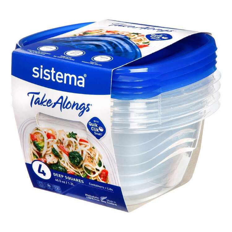 Sistema Take Alongs 1.2L 4 Pack Square Containers