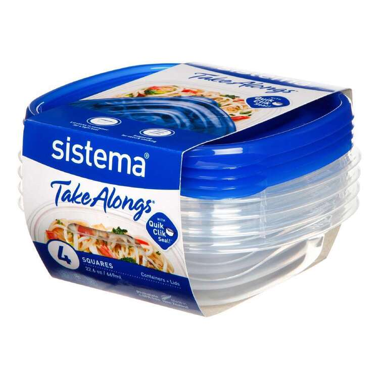 Sistema Take Alongs 669 mL 4 Pack Square Containers