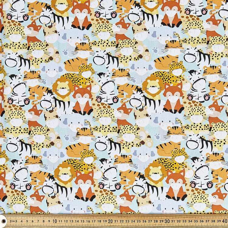 Animals In Masks Cotton Fabric