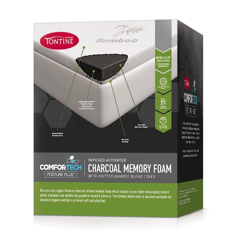 Tontine Comfortech Charcoal Infused Memory Foam Topper