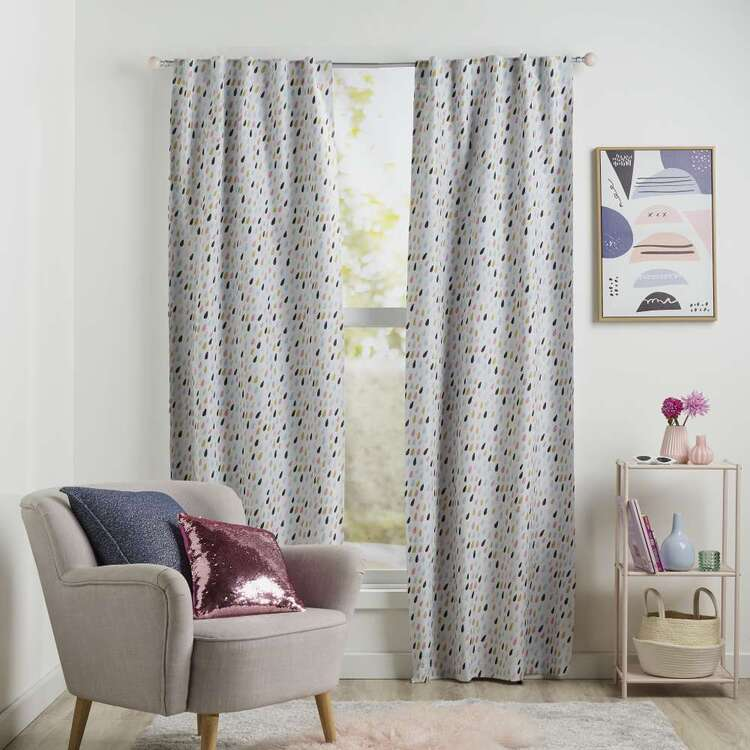 Koo Kids Chloe Raindrop Printed Blockout Concealed Tab Curtains