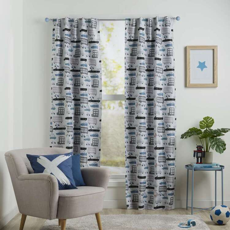 Koo Kids Archie Transport Printed Blockout Concealed Tab Curtains